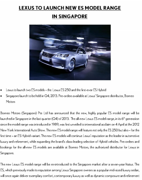 Press Release - LEXUS TO LAUNCH NEW ES MODEL RANGE IN SINGAPORE _1 (474x600)