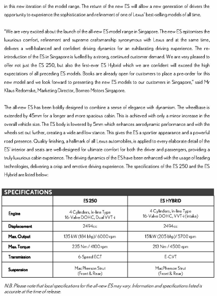 Press Release - LEXUS TO LAUNCH NEW ES MODEL RANGE IN SINGAPORE _2 (440x600)