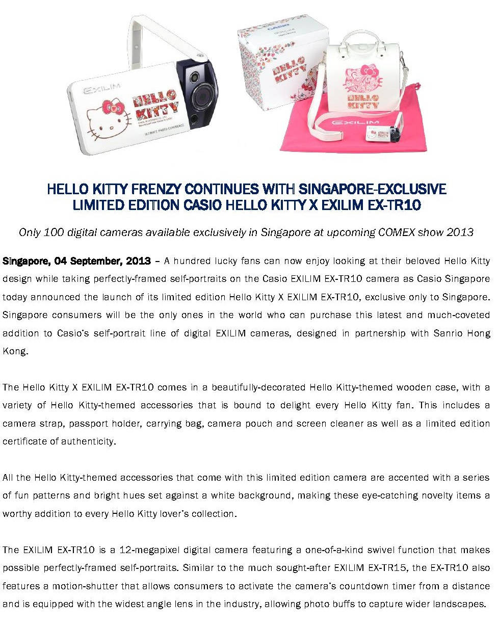 7716a4e0a453 PressRel Casio Hello Kitty X EXILIM EXTR10 1 · PressRel Casio Hello Kitty X  EXILIM EXTR10 2 · Casio TR10 x Hello Kitty with Carrying Bag