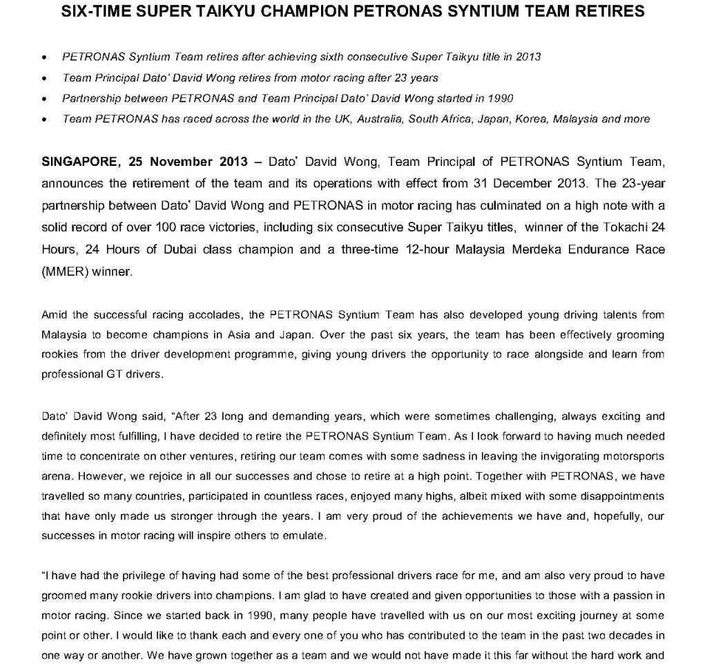 Press Release, Six-time Super Taikyu Champion PETRONAS Syntium Team Retires_1