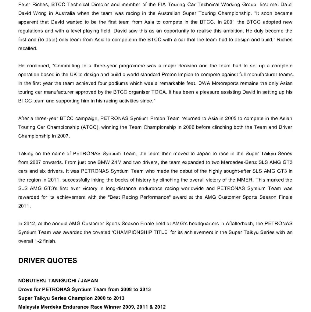 Press Release, Six-time Super Taikyu Champion PETRONAS Syntium Team Retires_3