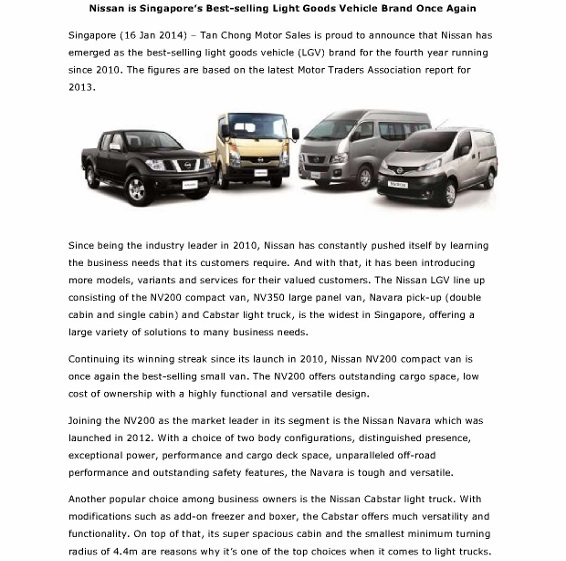 Nissan - Best Selling Light Goods Vehicle Brand For 4 years - 16th January 2014_1 (566x800)