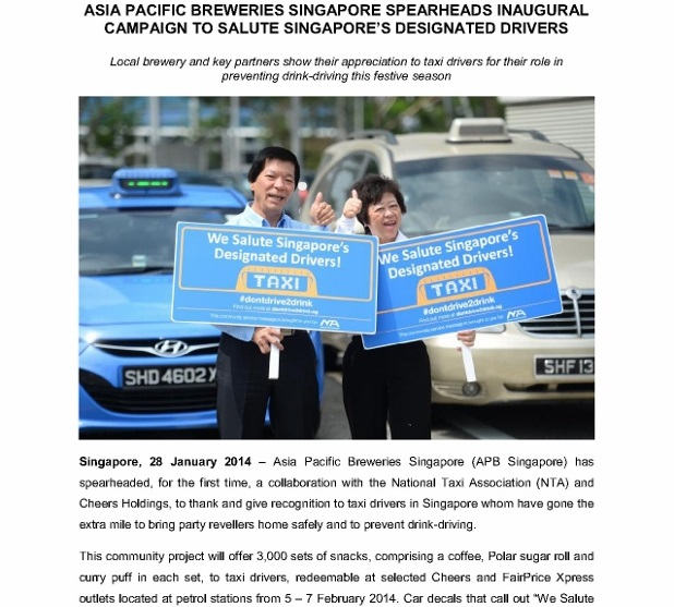 PRESS RELEASE_ASIA PACIFIC BREWERIES SINGAPORE SPEARHEADS INAUGURAL CAMPAIGN TO SALUTE SINGAPORES DESIGNATED DRIVERS_1 (618x800)