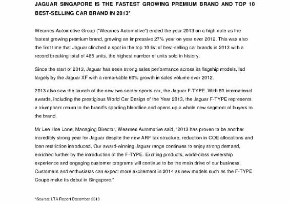 Press Release_Jaguar is Singapore's Fastest Growing Premium Brand in 2013_1 (566x800)