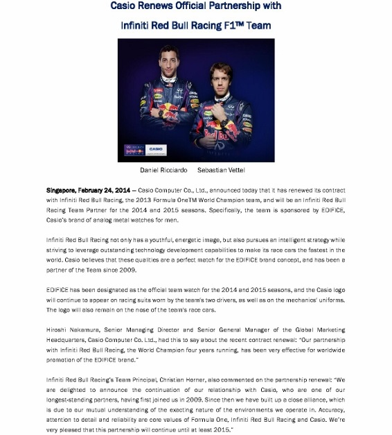 CASIO renews Official Partnership with Infiniti Red Bull Racing F1 Team_Media Release_24 Feb 2014_1 (566x800)