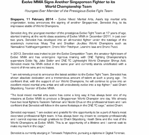 For Immediate Release - Evolve MMA Signs Another Singaporean Fighter to its  World Championship Team_1 (566x800)
