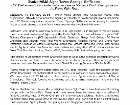 For Immediate Release - Evolve MMA Signs Tarec 'Sponge' Saffiedine_1 (566x800)