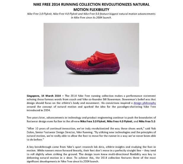 Media Release_NIKE FREE 2014 RUNNING COLLECTION REVOLUTIONIZES NATURAL MOTION FLEXIBILITY _1 (618x800)