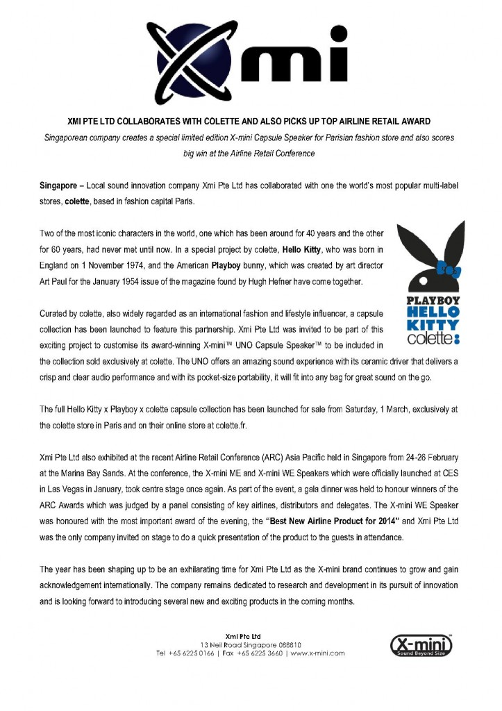 PRESS RELEASE_XMI PTE LTD COLLABORATES WITH COLETTE AND PICKS UP AIRLINE RETAIL AWARD_1