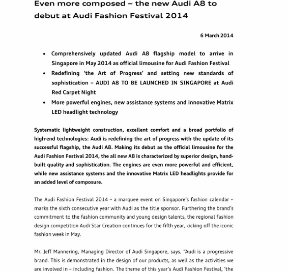 Press Release_ Even more composed – the new Audi A8 to debut at AFF 2014_1 (566x800)