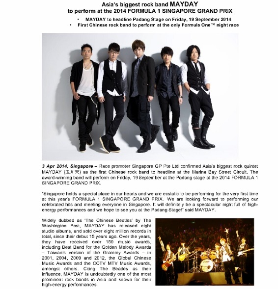 PRESS RELEASE_MAYDAY to perform at 2014 FORMULA 1 SINGAPORE GRAND PRIX_SG_1 (566x800)
