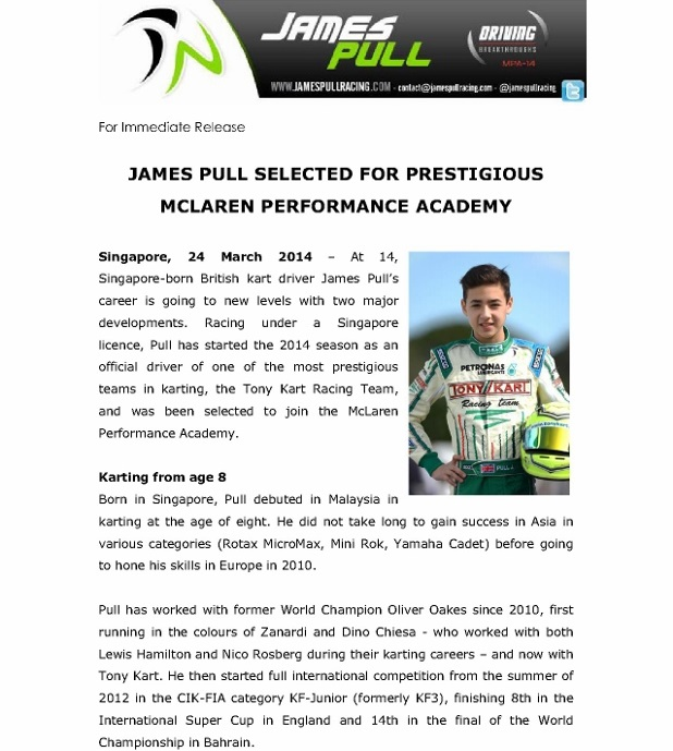 Press Release - James Pull selected for McLaren Performance Academy_1 (618x800)