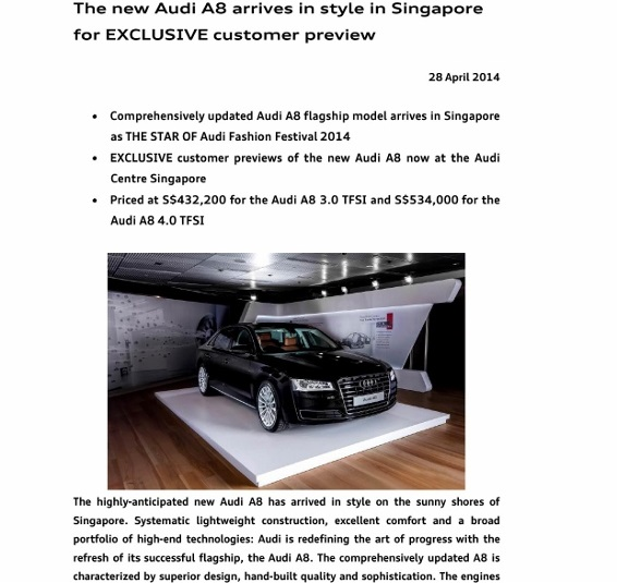 Press Release_ The new Audi A8 arrives in style in Singapore for exclusive customer preview_1 (566x800)