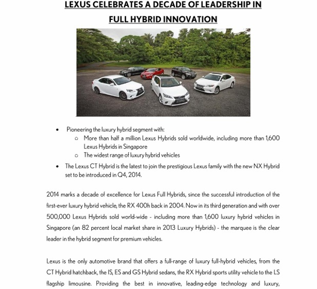 (27 May 14) PRESS RELEASE_Lexus Celebrates A Decade of Leadership in Full Hybrid Innovation_1 (618x800)