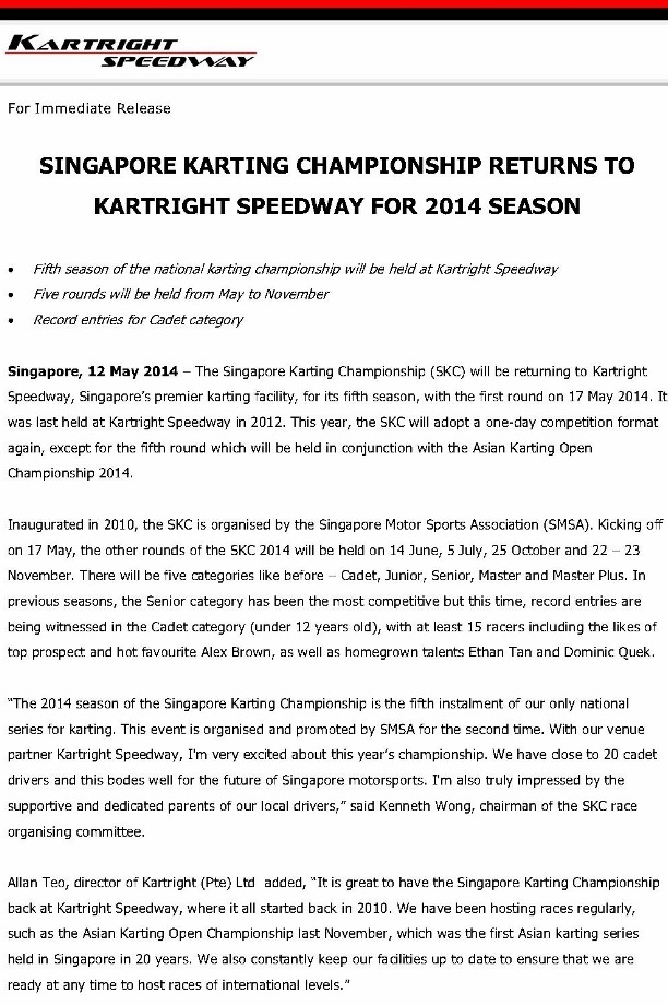 Press Release, Singapore Karting Championship returns to Kartright Speedway for 2014_1 (791x1024)