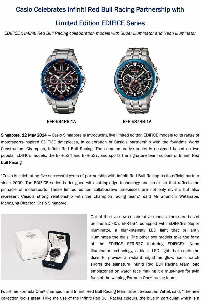 New Limited Edition Edifice X Red Bull Racing Watches Cheryl Tay Casio Ef 534rbk 1a Casioedificewatch2014 1
