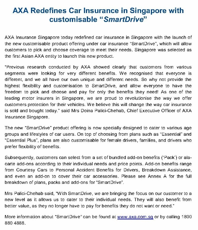 "MEDIA RELEASE - AXA Redefines Car Insurance in Singapore with customisable ""SmartDrive""_1 (905x1280)"