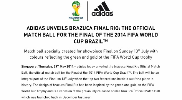 promo code 00771 61279  PRESS RELEASE  ADIDAS UNVEILS BRAZUCA FINAL RIO THE OFFICIAL MATCH BALL  FOR THE FINAL