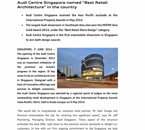"Press Release_Audi Centre Singapore named ""Best Retail Architecture"" in _1 (566x800)"