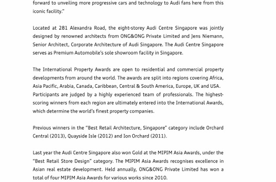 "Press Release_Audi Centre Singapore named ""Best Retail Architecture"" in _2 (566x800)"