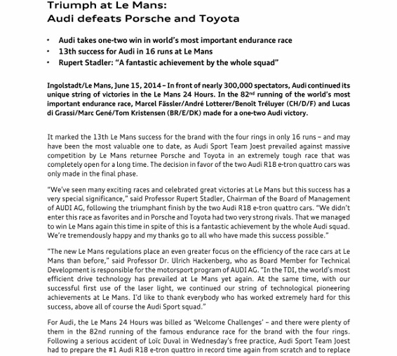 Press Release_Triumph at Le Mans - Audi defeats Porsche and Toyota_1 (566x800)