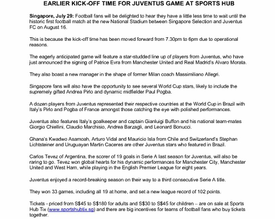 Press Release - Earlier kick-off time for Juventus game at Sports Hub_1 (566x800)
