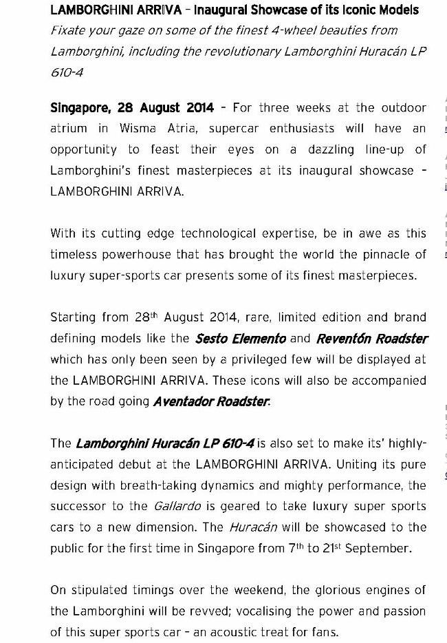 [MEDIA RELEASE] LAMBORGHINI ARRIVA – Inaugural Showcase of its Iconic Models_1 (905x1280)