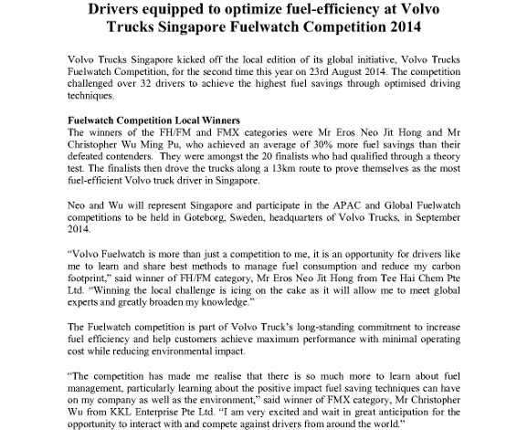 [Press Release] Drivers equipped to optimize fuel-efficiency at Volvo Trucks Singapore Fuelwatch Competition 2014_1 (566x800)