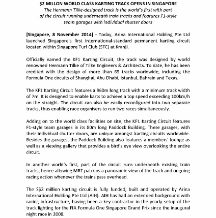 [Media Release] $2 MILLON WORLD CLASS KARTING TRACK OPENS IN SINGAPORE _1 (424x600)